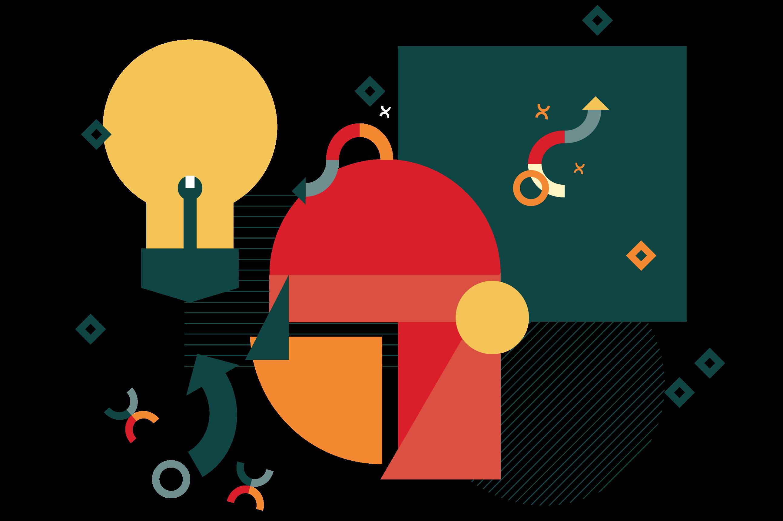 Ilustração com formas geométricas e lâmpada