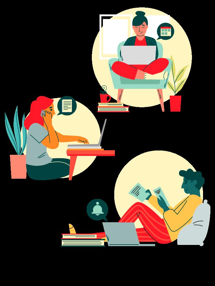 Ilustração async trabalho remoto