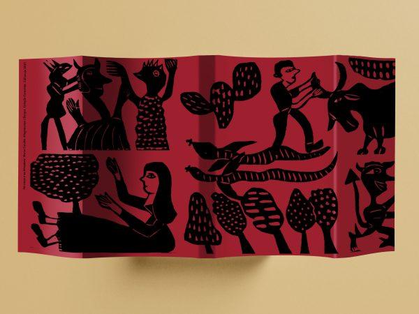 Mockup da sobrecapa ilustrada do livro No cravo e na ferradura