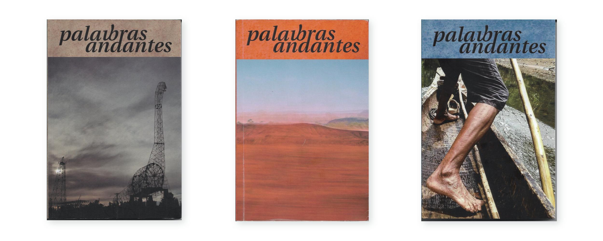 Capas das três edições de Palavbras Andantes