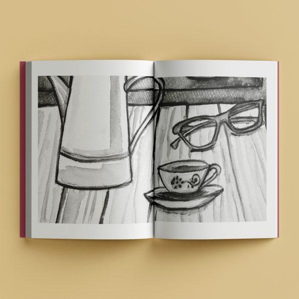Mockup do miolo do livro Polaroids